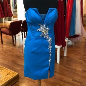 Turquoise prom dress with rhinestones